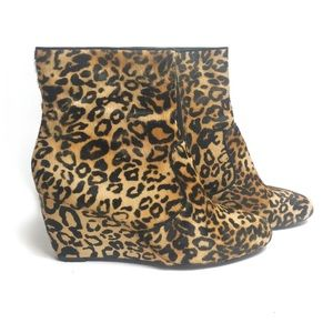 Aldo Leopard Pony Hair Wedge Ankle Booties